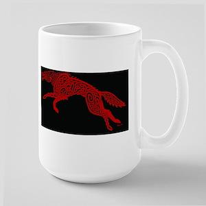 Red Wolf on Black Mugs