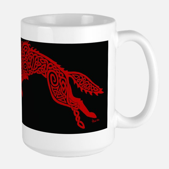 Red Wolf on Black Mugs