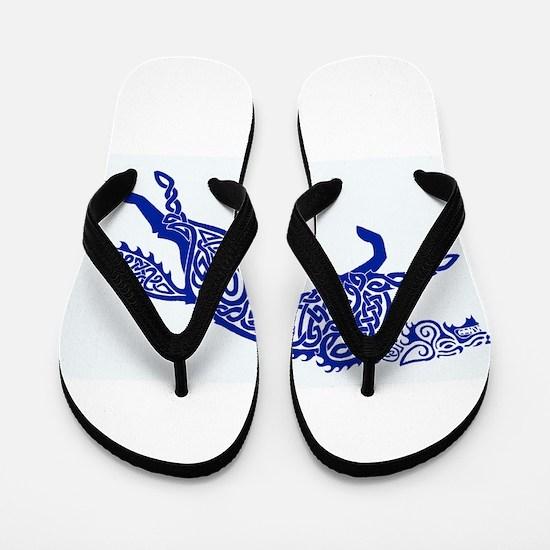 Blue Wolf Flip Flops