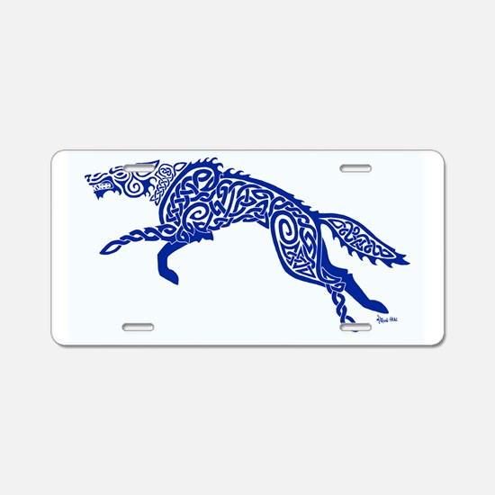 Blue Wolf Aluminum License Plate
