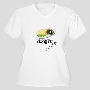 PURRITO, BURRITO, Women's Plus Size V-Neck T-Shirt