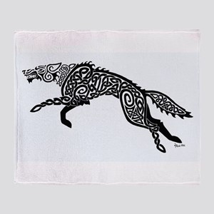 Black Wolf Throw Blanket