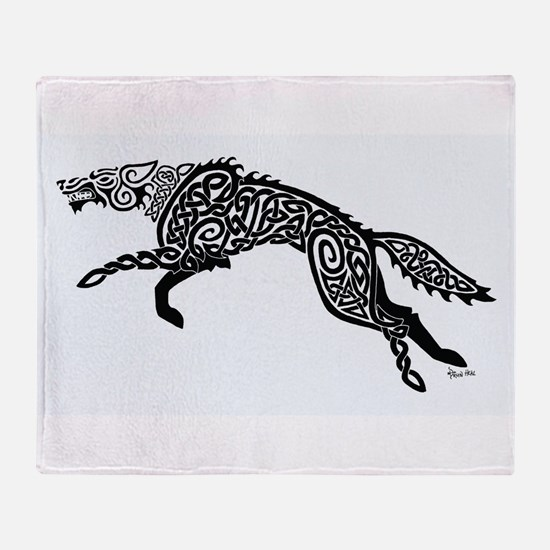 Black Wolf Throw Blanket