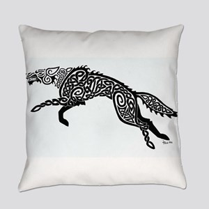 Black Wolf Everyday Pillow