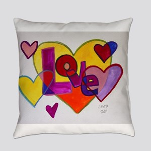 Love Patchwork Hearts Watercolor Everyday Pill