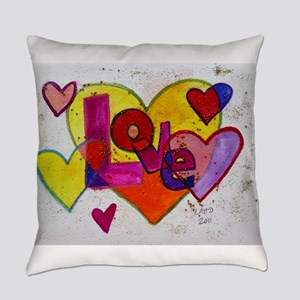 Love Patchwork Glitter Hearts Everyday Pillow