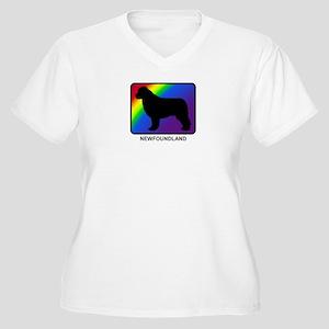 Newfoundland (rainbow) Women's Plus Size V-Neck T-