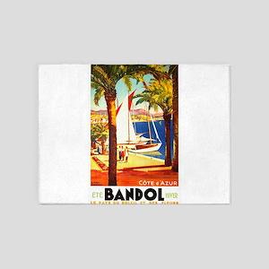 Bandol France ~ Vintage Travel 5'x7'Area Rug