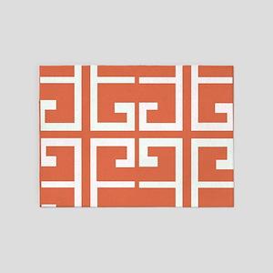 Orange and White Spanish Tile 5'x7'Area Rug