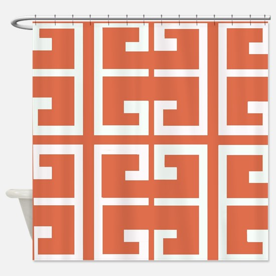 Orange and White Spanish Tile Shower Curtain