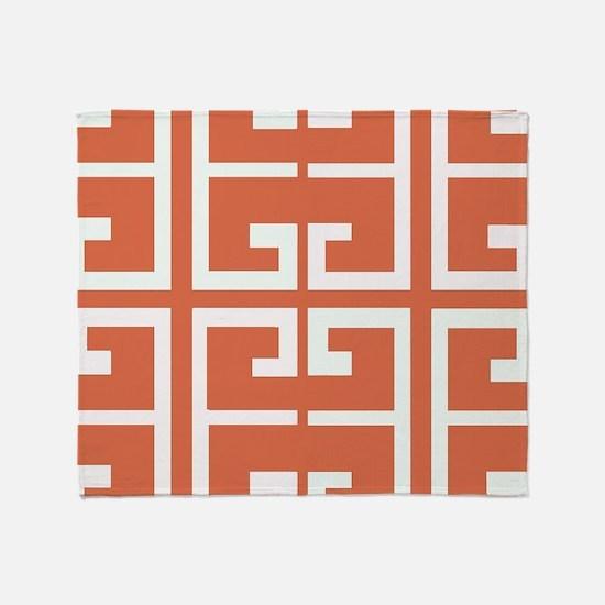 Orange and White Spanish Tile Throw Blanket