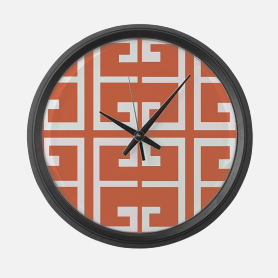 Orange and White Spanish Tile Large Wall Clock