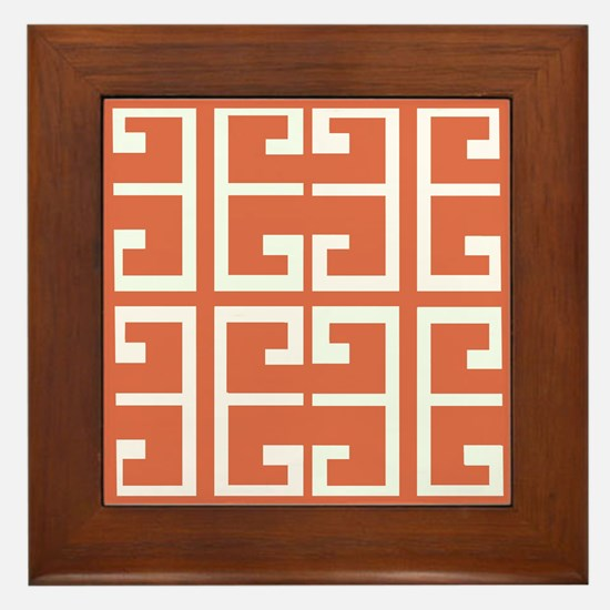 Orange and White Spanish Tile Framed Tile