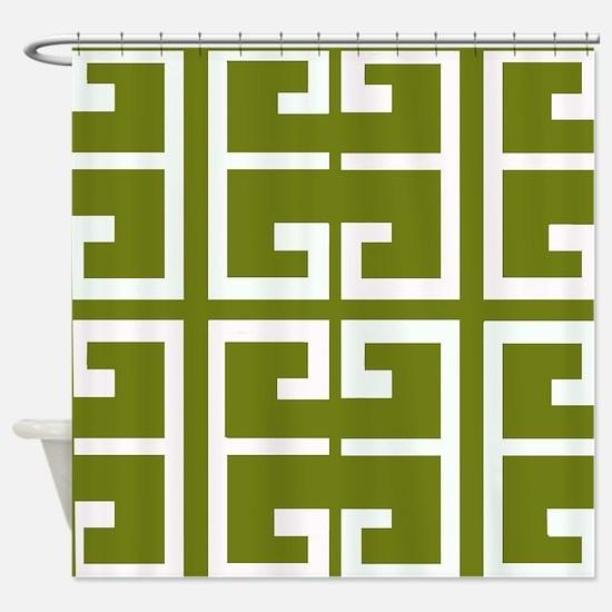 Avocado Green Spanish Tile Shower Curtain