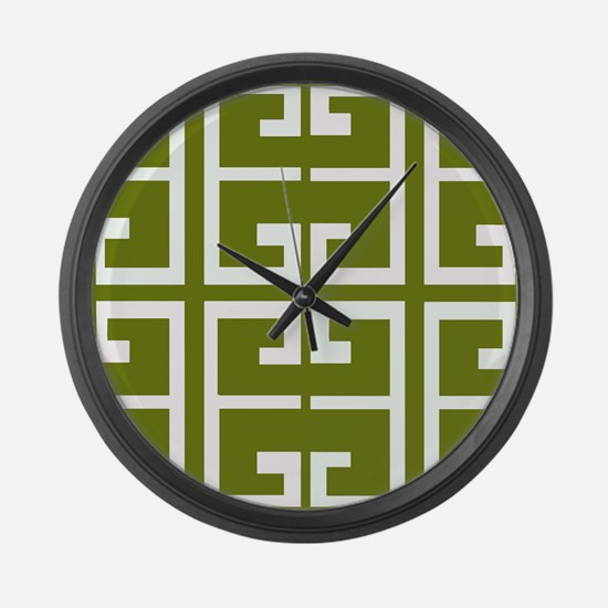 Avocado Green Spanish Tile Large Wall Clock