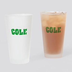 Cole Name Weathered Green Design Drinking Glass
