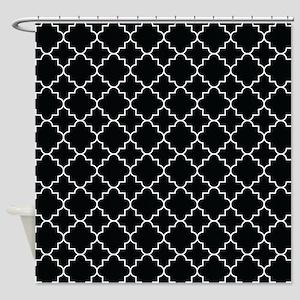 Quatrefoil Moroccan Black Shower Curtain