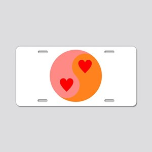 Yin Yang Hearts Aluminum License Plate