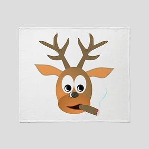 Deer with Cigar Throw Blanket