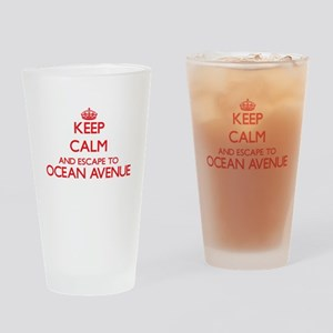 Keep calm and escape to Ocean Avenu Drinking Glass