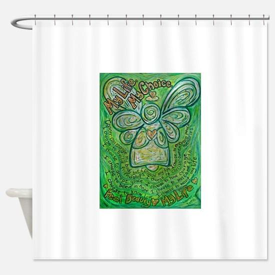 My Life, My Choice Green Angel.jpg Shower Curtain