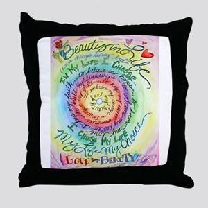Beauty in Life Cancer Support Poem Throw Pillow