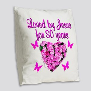 CHRISTIAN 80 YR OLD Burlap Throw Pillow