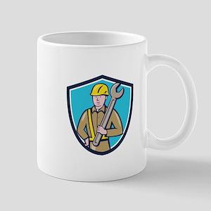 Construction Worker Spanner Shield Cartoon Mugs