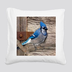 rustic barn wood blue jay Square Canvas Pillow