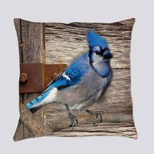 rustic barn wood blue jay Everyday Pillow