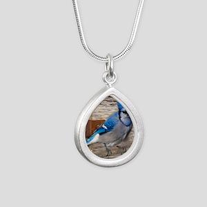 rustic barn wood blue ja Silver Teardrop Necklace
