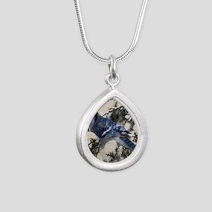 christmas snow blue jay Silver Teardrop Necklace