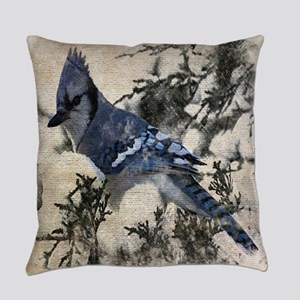 christmas snow blue jay Everyday Pillow
