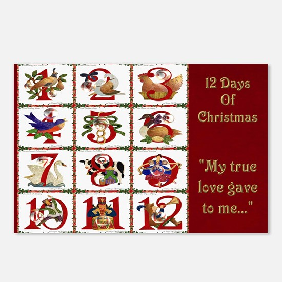 12 Days Of Christmas Postcards (Package of 8)
