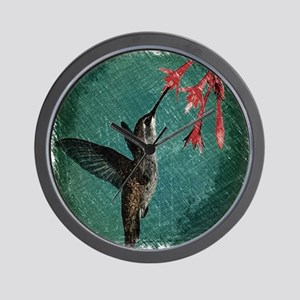 modern teal floral  hummingbird Wall Clock