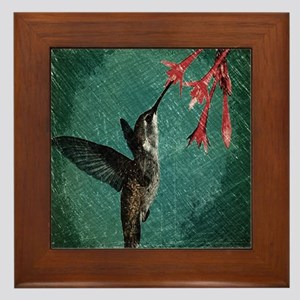 modern teal floral  hummingbird Framed Tile