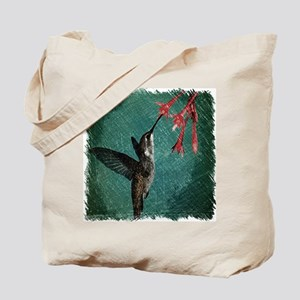 modern teal floral  hummingbird Tote Bag