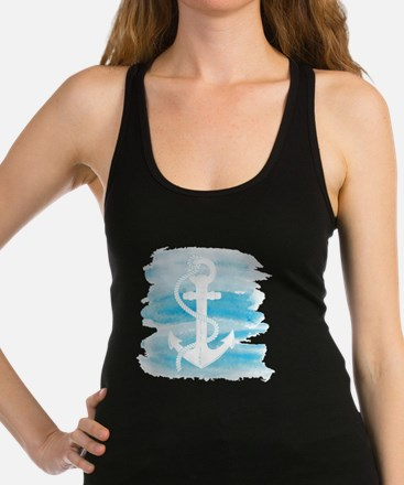Watercolor Anchor Racerback Tank Top