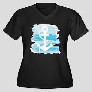 Watercolor A Women's Plus Size V-Neck Dark T-Shirt