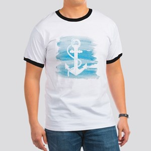 Watercolor Anchor Ringer T