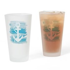 Watercolor Anchor Drinking Glass