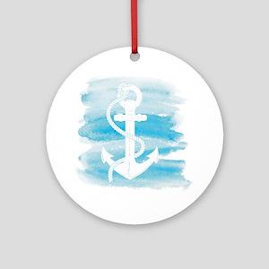 Watercolor Anchor Ornament (Round)