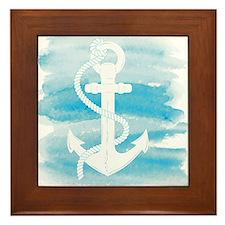 Watercolor Anchor Framed Tile