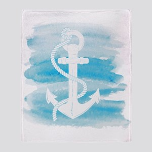 Watercolor Anchor Throw Blanket