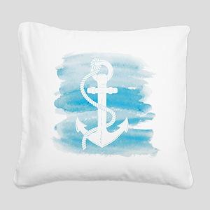 Watercolor Anchor Square Canvas Pillow