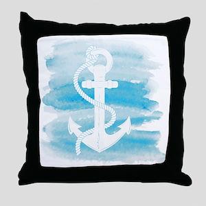 Watercolor Anchor Throw Pillow