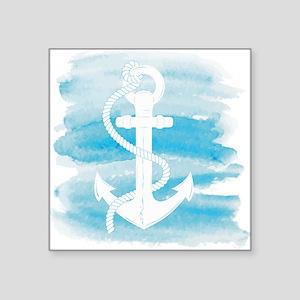 """Watercolor Anchor Square Sticker 3"""" x 3"""""""