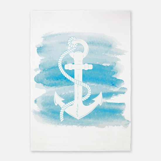 Watercolor Anchor 5'x7'Area Rug