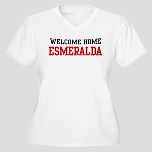 Welcome home ESMERALDA Women's Plus Size V-Neck T-