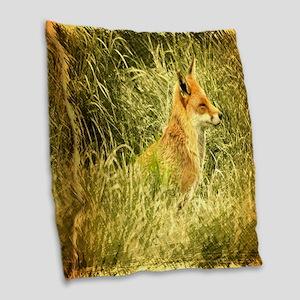 nature wildlife red fox Burlap Throw Pillow